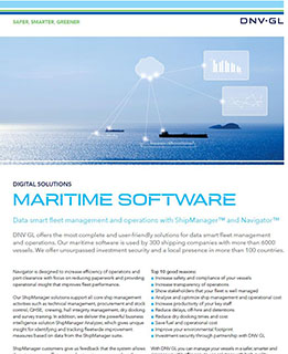 Maritime Software brochure - smarter ship management and operations with ShipManager and Navigator. More.